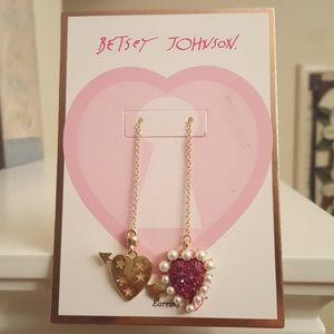 Betsey Johnson hearts drop earrings